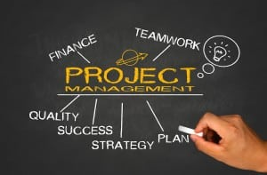 project management concept on blackboard